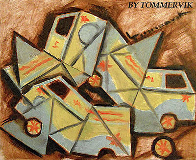 Painting - Abstract Cubism Mystery Machine Painting by Tommervik