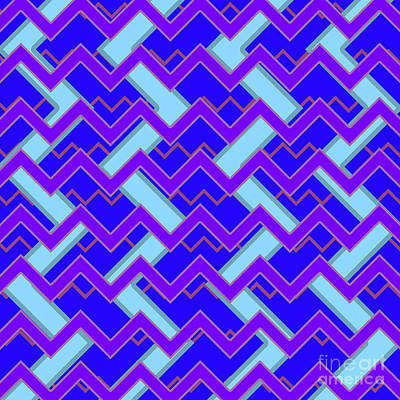 Santa Monica Digital Art - Abstract Cyan, Purple And Blue Pattern For Home Decoration by Pablo Franchi