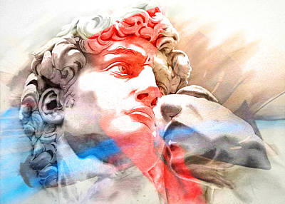 Art Print featuring the painting Abstract David Michelangelo 2 by J- J- Espinoza