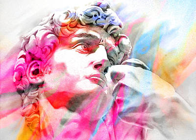 Art Print featuring the painting Abstract David Michelangelo 4 by J- J- Espinoza
