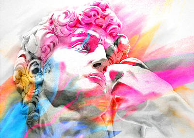 Art Print featuring the painting Abstract David Michelangelo 5 by J- J- Espinoza