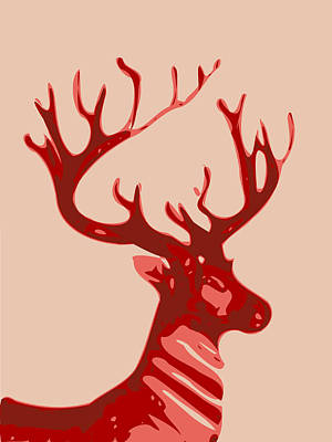 Digital Art - Abstract Deer Contours by Keshava Shukla