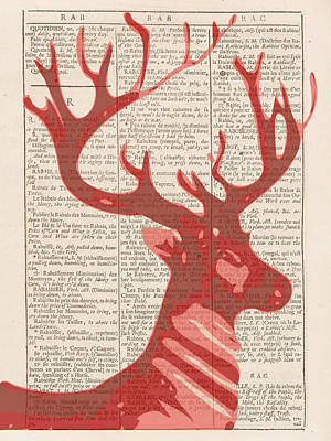 Digital Art - Abstract Deer On Dictionary by Keshava Shukla