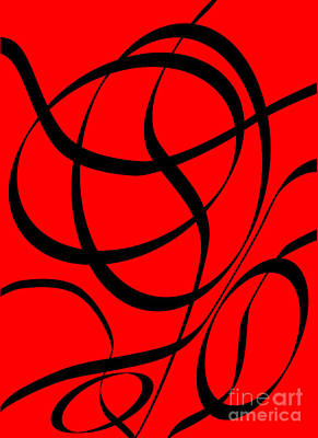 Digital Art - Abstract Design In Red And Black by David Gordon