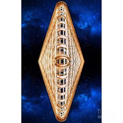 Night Digital Art - Abstract Diamond Building by Amy Cicconi