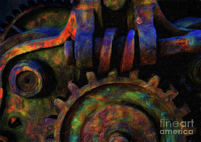 Steampunk Royalty-Free and Rights-Managed Images - Abstract digital oil painting of large gears full of texture and by Amy Cicconi