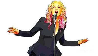 Abstract Digital Painting Of Cyndi Lauper Art Print by John Malone