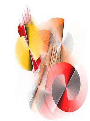 Digital Art - Abstract Digital Red And Yellow by Patty Meotti