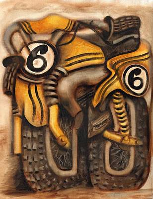 Painting - Abstract Dirt Bike Art Print by Tommervik