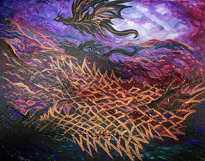 Painting - Abstract Dragonscape by Michelle Pier