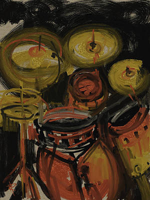 Mixed Media - Abstract Drums by Russell Pierce