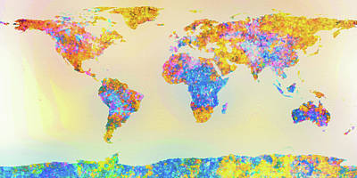 Abstract Earth Map 2 Art Print by Bob Orsillo