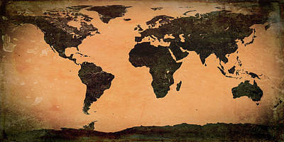 Abstract Earth Map Mural Art Print by Bob Orsillo