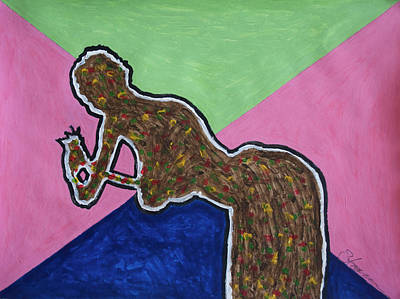 Nudes Painting - Abstract Ebony Nude Kneeling by Stormm Bradshaw