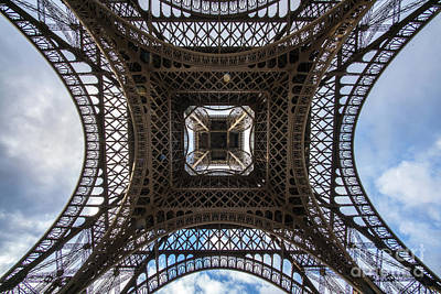 Photograph - Abstract Eiffel Tower Looking Up 3 by Mike Reid