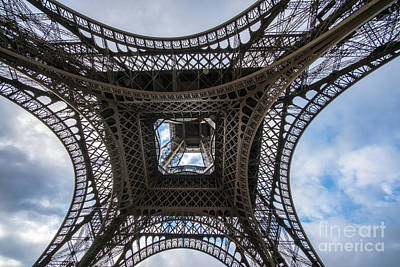 Photograph - Abstract Eiffel Tower Looking Up by Mike Reid
