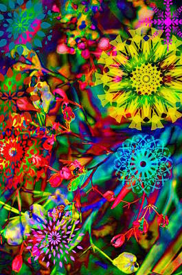 Photograph - Abstract Electric Garden by Suzanne Powers