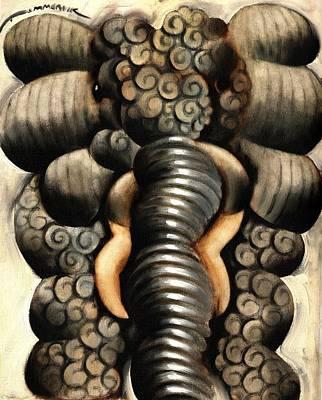 Painting - Gardener Elephant Art Print by Tommervik