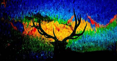 Priska Wettstein Pink Hues - Abstract Elk Scenic View by Mike Breau