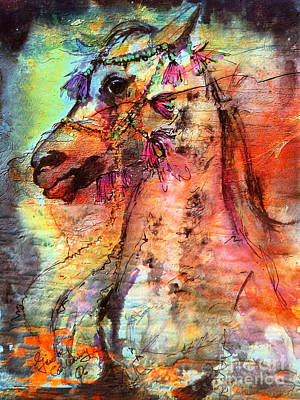 Painting - Abstract Expressive Arabian Stallion Art by Ginette Callaway