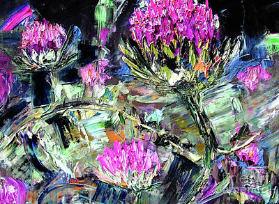 Impasto Oil Painting - Abstract Expressive Thistles Oil Painting by Ginette Callaway