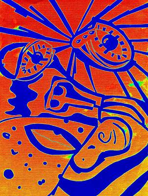 Tears Drawing - Abstract Face Blue Red by Sheri Buchheit