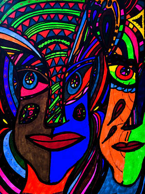 Painting - Abstract Faces - Bold Gazes by Marie Jamieson