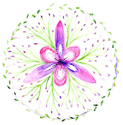 Painting - Abstract Floral Botanical Mandala by Louise Gale