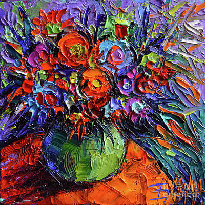 Abstract Floral On Orange Table - Impasto Palette Knife Oil Painting Art Print by Mona Edulesco