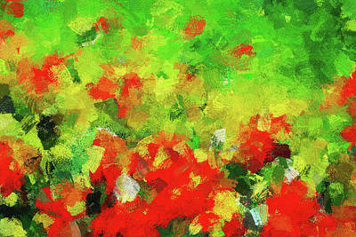 Painting - Abstract Floral Painting - Red And Green by Ayse Deniz