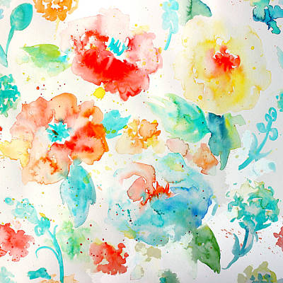 Painting - Abstract Floral Pattern 02 by Aloke Creative Store