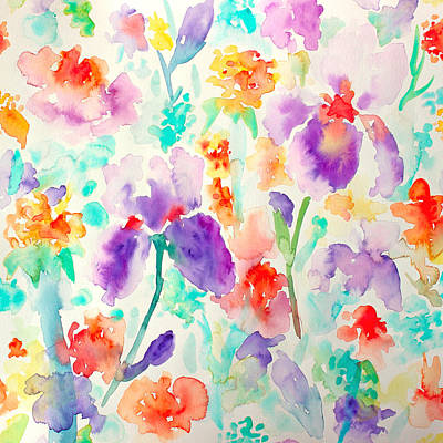 Painting - Abstract Floral Pattern 03 by Aloke Creative Store