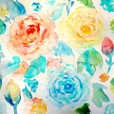 Painting - Abstract Floral Pattern 04 by Aloke Creative Store