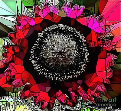 Royalty Free Images Painting - Abstract Floral Stained Glass Painting by Catherine Lott