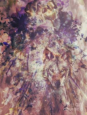 Digital Art - Abstract Floral With Wolf by Maria Urso