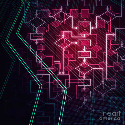 Algorithm Photograph - Abstract Flowchart Background by Oleksiy Maksymenko
