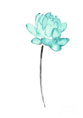 Buddhist Painting - Blue Lotus Flower Watercolor Painting, Abstract Flower Art Print, Baby Blue Floral Kids Room Decor by Joanna Szmerdt