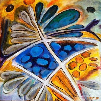 Art Print featuring the painting Abstract Flower by Dragica  Micki Fortuna