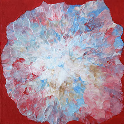 Painting - Abstract Flower In Red Surround by Deborah Boyd