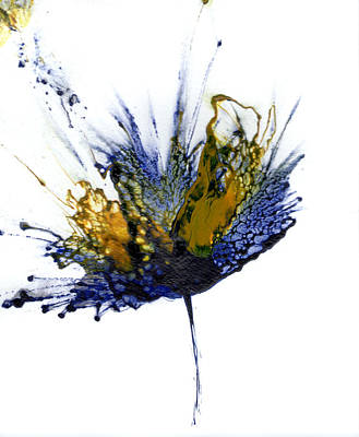 Painting - Abstract Flower Navy Blue Yellow 1 by Catherine Jeltes