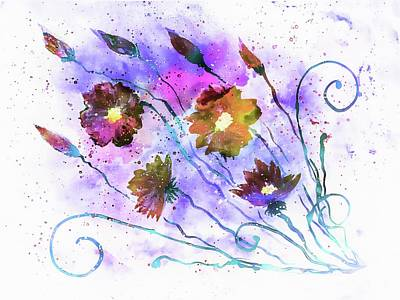 Painting - Abstract Flowers 2 by Lilia D