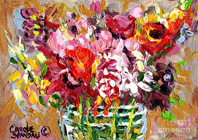 Painting - Abstract Flowers In Glass Vase Colorful Original Painting By Carole Spandau by Carole Spandau