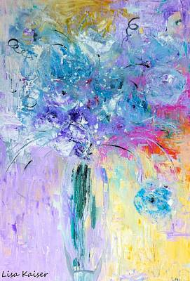 Digital Art - Abstract Flowers In Lead Crystal Vase Painting Abstract by Lisa Kaiser