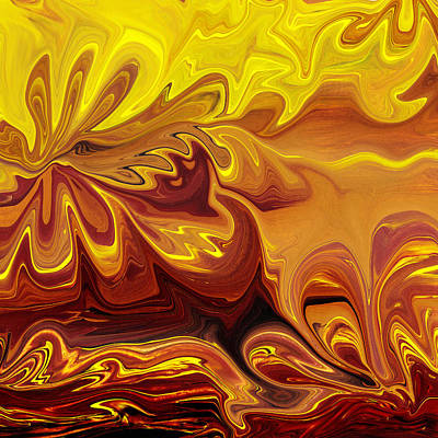 Painting - Abstract Flowers In Yellow Brown By Irina Sztukowski by Irina Sztukowski