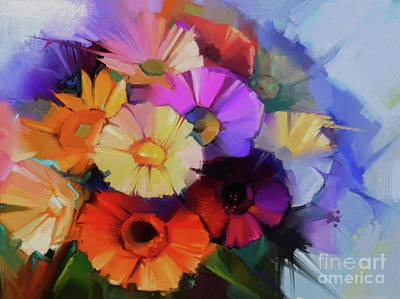 Abstract Flowers Painting 9903 Original