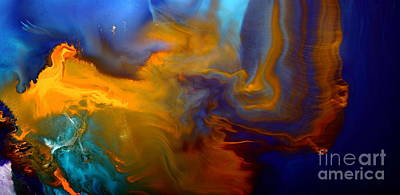 Painting - Abstract Fluid Art Escape Into The Unknown Liquid Painting Macro Photography By Kredart by Serg Wiaderny