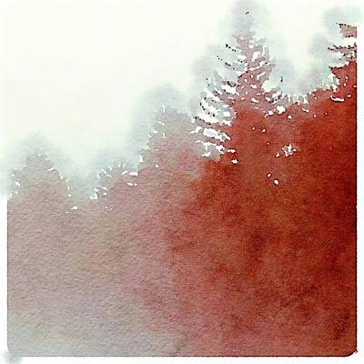 Abstract Foggy Pines Art Print