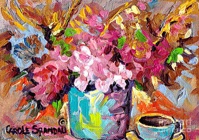Painting - Abstract Foral Bouquet In Blue Vase And Blue Cup Colorful Original Painting Carole Spandau by Carole Spandau