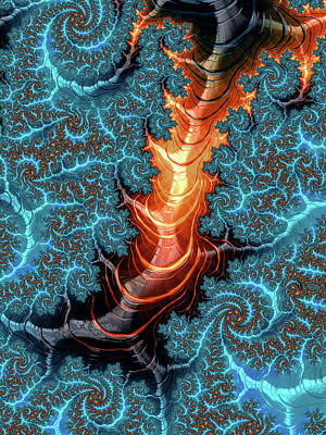 Abstract Digital Art - Abstract Fractal Art Aqua Orange Brown by Matthias Hauser