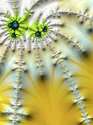 Digital Art - Abstract Fractal Sun Beams Yellow White Green by Matthias Hauser